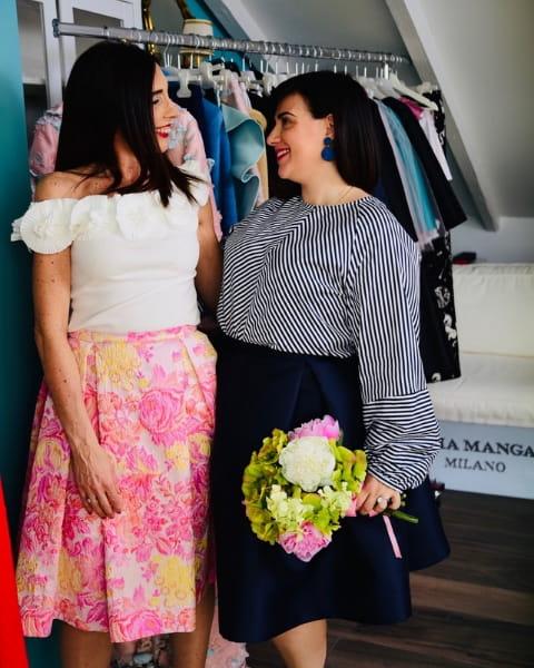 Daniela Barbarossa nell'atelier Ylenia Mangano a Milano con la stilista