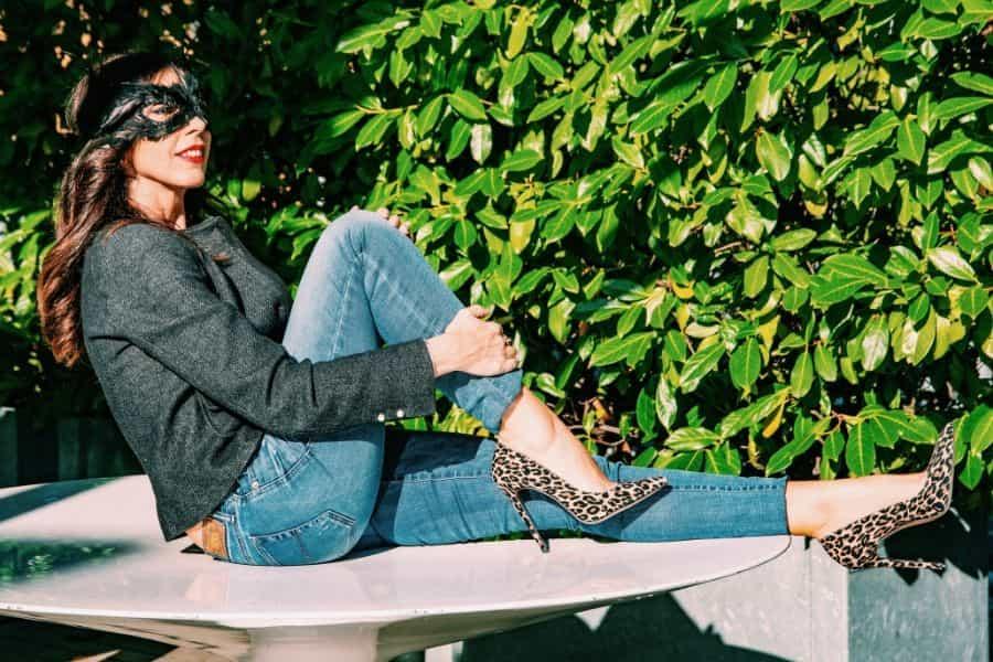 décolleté leopardate Identità Calzature in outfit di Daniela Barbarossa
